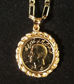 Shah of Iran Memorabilia Necklace, 14K Gold Covered