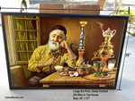 "25"" x 37"" Art Print Framed - Old Man inside Tea House"